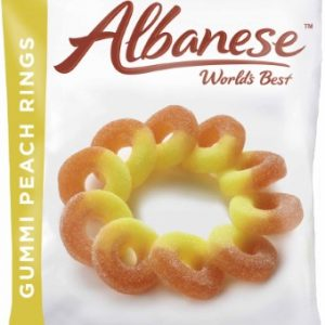 ALBANESE PEACH RINGS, 7OZ