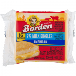 BORDEN AMERICAN 2% SLICED CHEESE, 16CT
