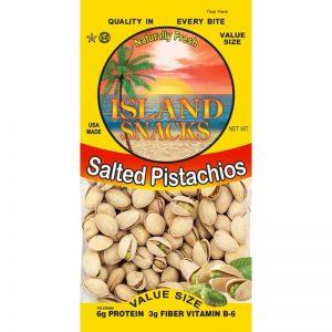 ISLAND SNACKS SALTED PISTACHIOS, 2.5OZ