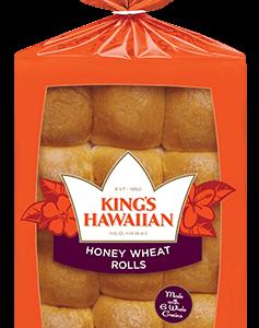 KING'S HAWAIIAN HONEY WHEAT ROLLS, 12OZ