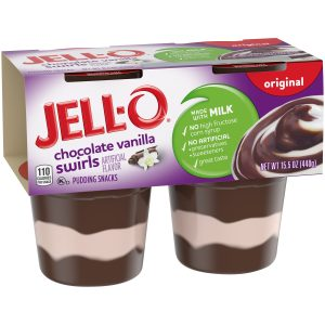 Jell-O Ready to Each Chocolate Vanilla Swirls Pudding Cups, 4 Ct – 15.5 Oz Package