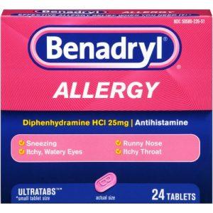 (2 Pack) Benadryl Ultratabs Antihistamine Allergy Medicine Tablets, 24 Ct