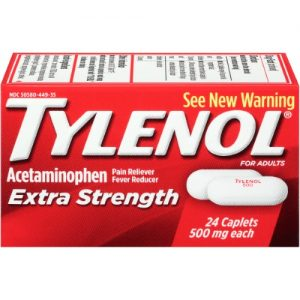 (3 Pack) Tylenol Extra Strength Caplets, Fever Reducer and Pain Reliever, 500 Mg, 24 Ct.
