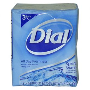 Dial Antibacterial Deodorant Soap, Spring Water, 4 Ounce, 3 Bars