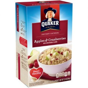 (4 Pack) Quaker Instant Oatmeal, Apples & Cranberries, 8 Packets