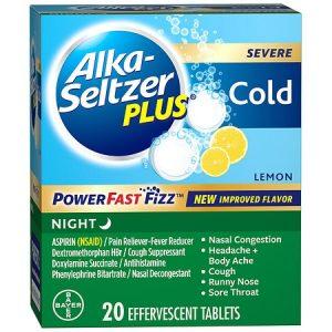 Alka-Seltzer Plus Powerfastfizz Severe Cold Night 20 Effervescent Tablets