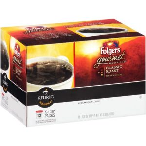 Folgers Gourmet Selections Ground Coffee K-Cups Classic Roast – 0.28 Oz X 12 Pack