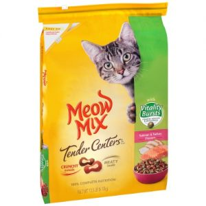 Meow Mix Tender Centers with Flavors of Salmon & Turkey Adult Complete & Balanced Dry Cat Food – 13.5lbs