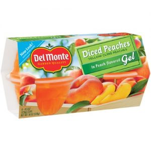 (3 Pack) Del Monte Diced Peaches in Peach Flavored Gel, 4.5 Oz Cup, 4 Count Box