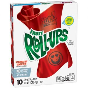 (4 Pack) Fruit Snacks Fruit Roll-Ups Strawberry Sensation 10 Rolls 0.5 Oz Each