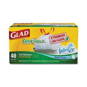 Glad Tall Kitchen Drawstring Trash Bags – OdorShield 13 Gallon Grey Trash Bag, Febreze Fresh Clean – 40 Count Each
