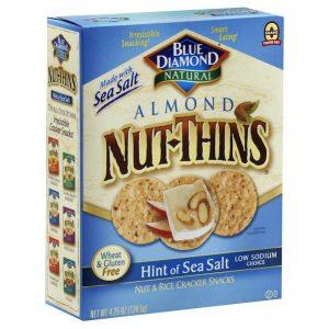 Blue Diamond Sea Salt Nut Thins Crackers 4.25 Oz Box