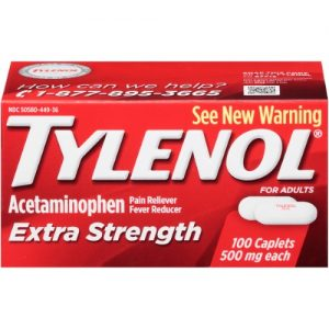 (2 Pack) Tylenol Extra Strength Caplets, Fever Reducer and Pain Reliever, 500 Mg, 100 Ct.
