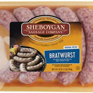 SHEBOYGAN Original Recipe Bratwurst, Small Batch, 1 Lb (Frozen)