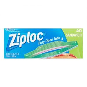 Ziploc Resealable Sandwich Bags 6 1/2 X 5 7/8 1.2 Mil Clear 40/Box 12 Box/Carton (Clear)